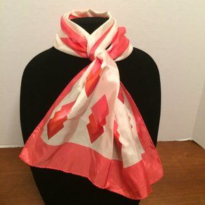 MCM 50's-60's Silk Scarf Red-Pink-White Diamonds